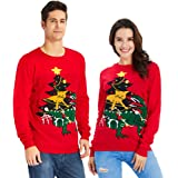 Goodstoworld Ugly Christmas Jumper Vintage Novelty Snowflake Reindeer Elf Knitted Warm Xmas Sweater S-XXL