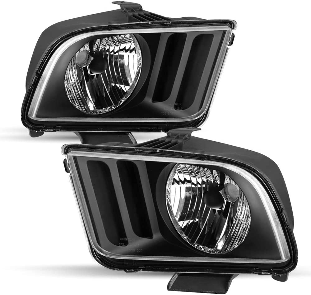 Fit for 2005-2009 Ford Mustang Headlamps Headlight Assembly Replacement,Driver and Passenger Side Black