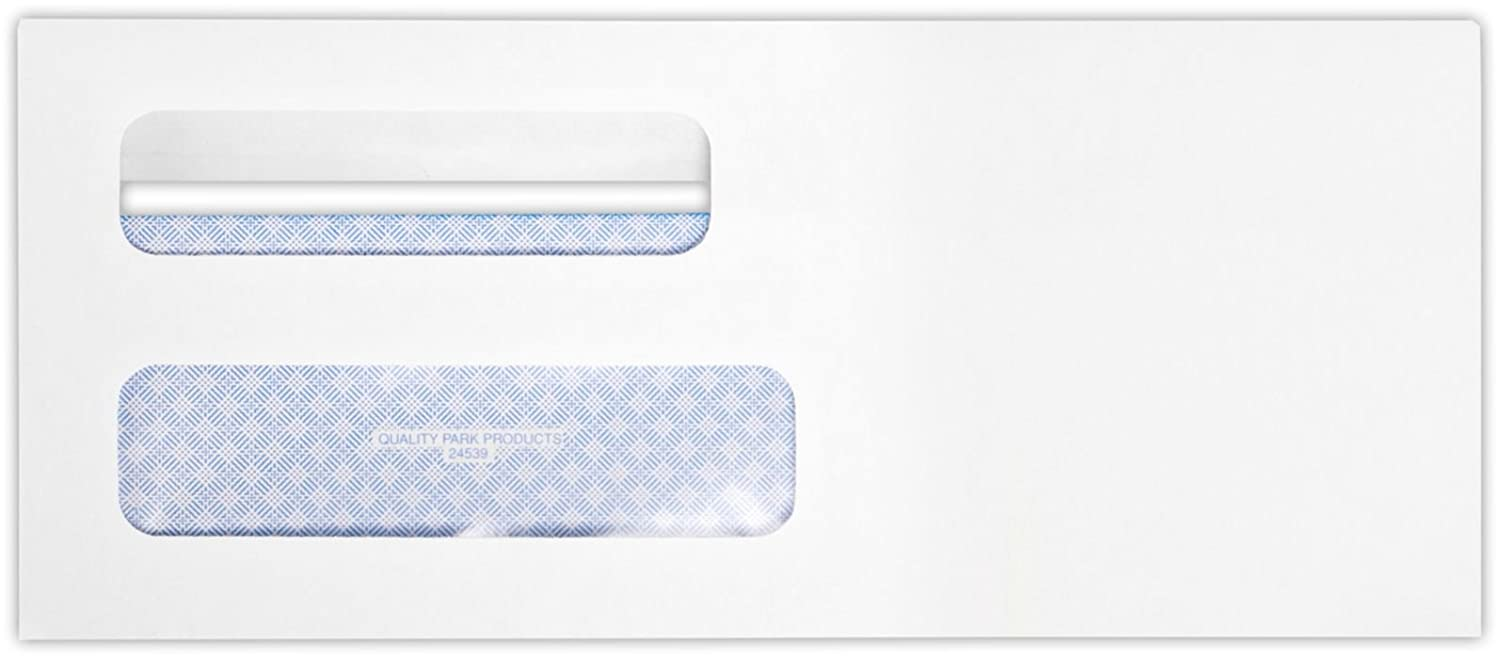 #8 5/8 Double Window Envelope (3 5/8 x 8 5/8) - White Wove w/ Redi-Seal(250 Qty) | Perfect for Checks, Invoices, Letterhead, Letters, Statements | 24lb. Paper | 24539-250