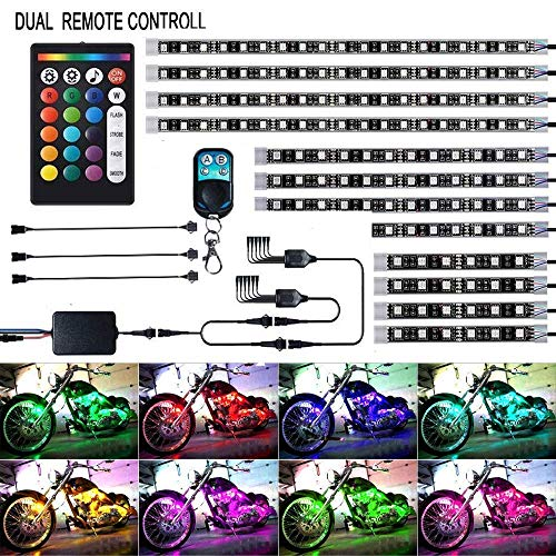 12Pcs Motorcycle LED Light Kit Strips Multi-Color Accent Glow Neon Ground Effect Atmosphere Lights Lamp with Wireless Remote Controller for Harley Davidson Honda Kawasaki Suzuki (Pack of 12)