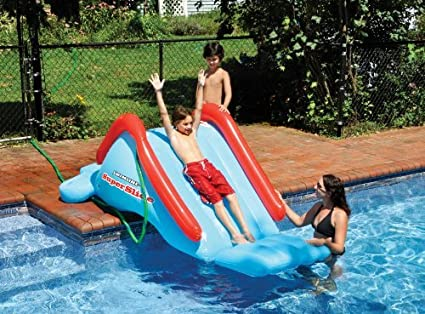 Swimline 90809 Inflatable Super Water Slide For Kids Side Of Swimming Pool Model