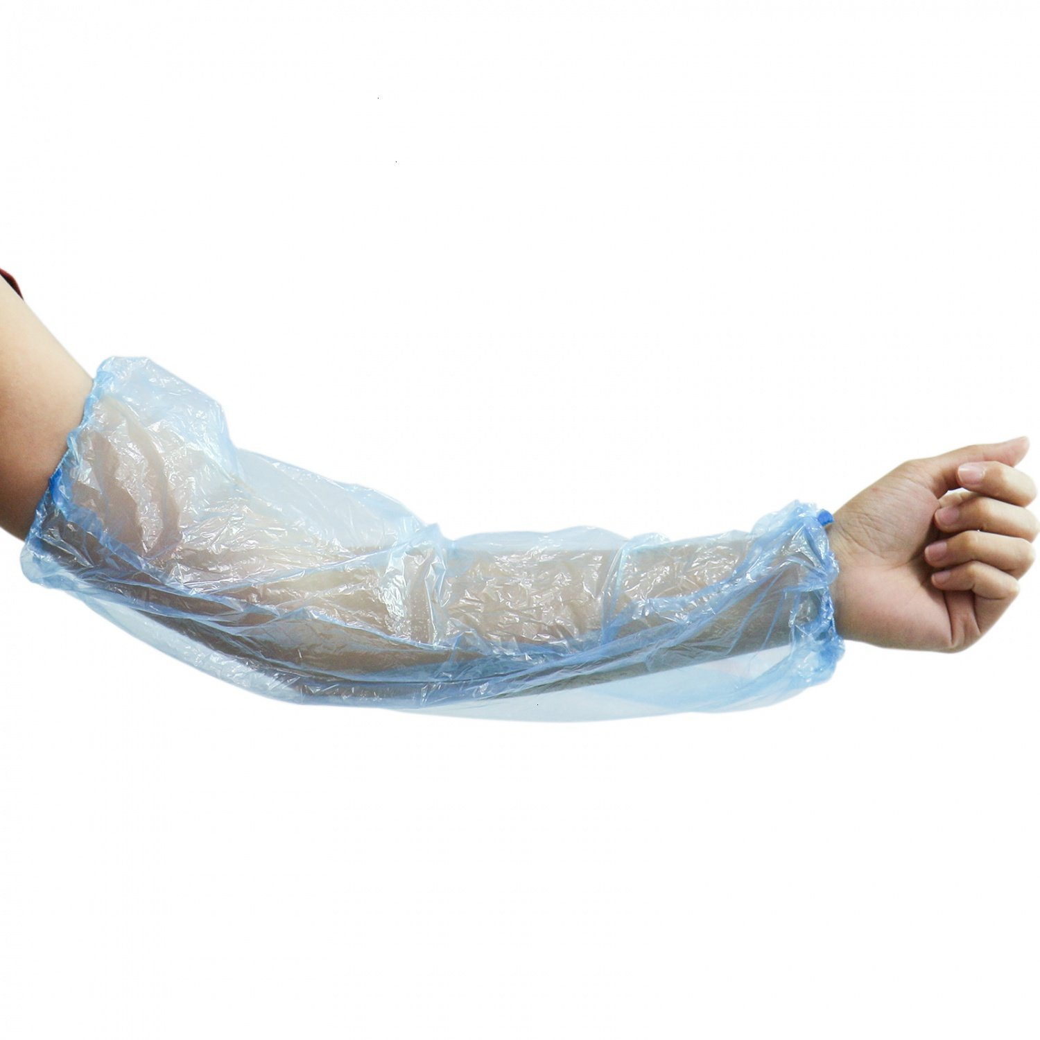 HUELE 100 Pcs Disposable Arm Sleeves Waterproof Covers for Arm Protection with Elastic End - Blue