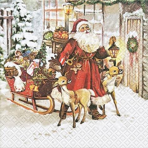 Nostalgische Weihnachtsbilder.Weihn Zelltuchserviette Amazon De Küche Haushalt