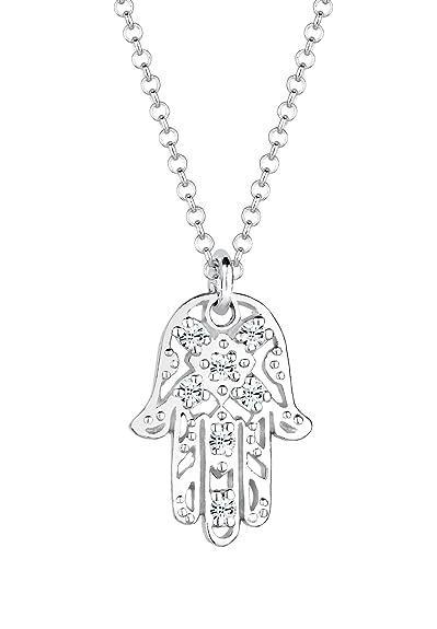 2ab79d20385f0 Elli Women's 925 Sterling Silver Xilion Cut Swarovski Crystals Hamsa Hand  Pendant Necklace