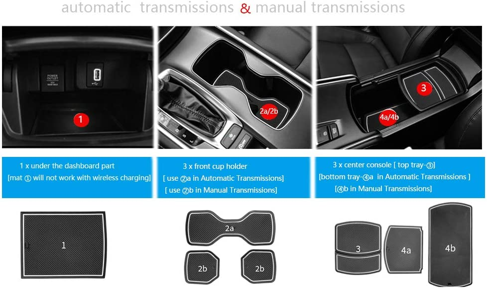 Auovo Anti Dust Door Mats for Honda Accord 2019 2018 2020 Interior Accessories Custom Fit Door Compartment Cup Center Console Liners 17pcs//Set White