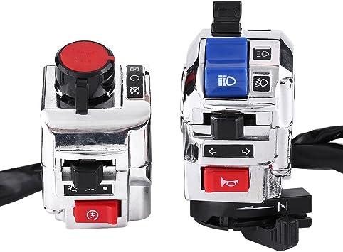 Keenso Motorrad Lenkerschalter 7 8 Zoll 22mm Motorrad Lenker Blinkerschalter Hupenschalter Fern Abblendlichtschalter Weiß Auto