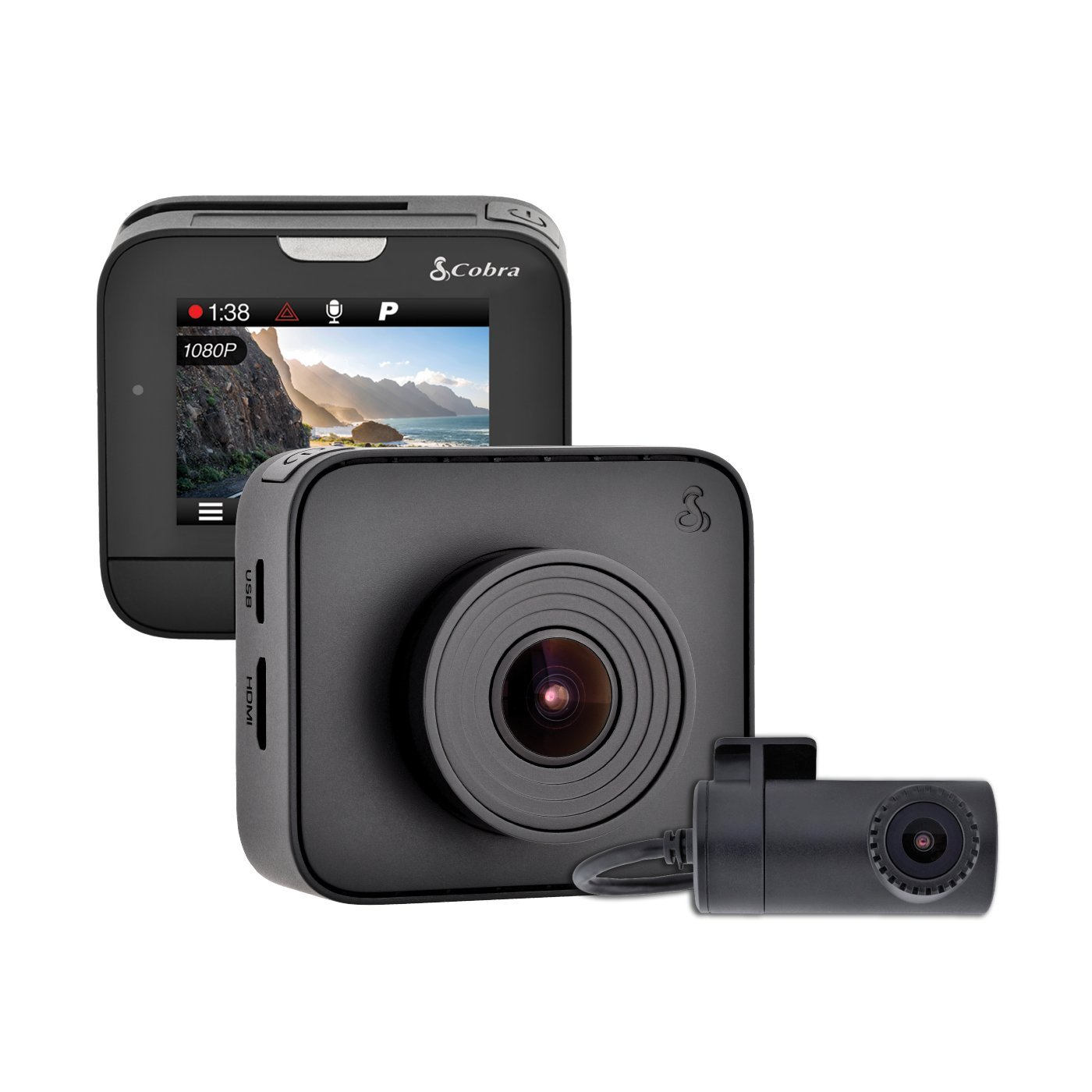 Amazon.com: Cobra Drive HD Dash Cam DASH2216D Feat.1080p Full HD Front Cam  and 720p HD Rear Cam, 16GB MicroSD Included, with G-Sensor Auto Accident ...