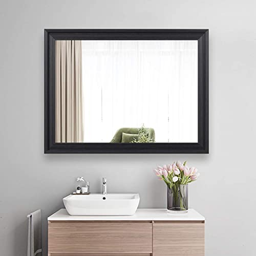 ZHOWI Vanity Bathroom Wall Mirror Large Wide Framed Wall-Mounted Decorative Rectangular Modern Mirrors for Home Bedroom Living Room Entryway Hanging Horizontal or Vertical 24x32in, Dark Brown