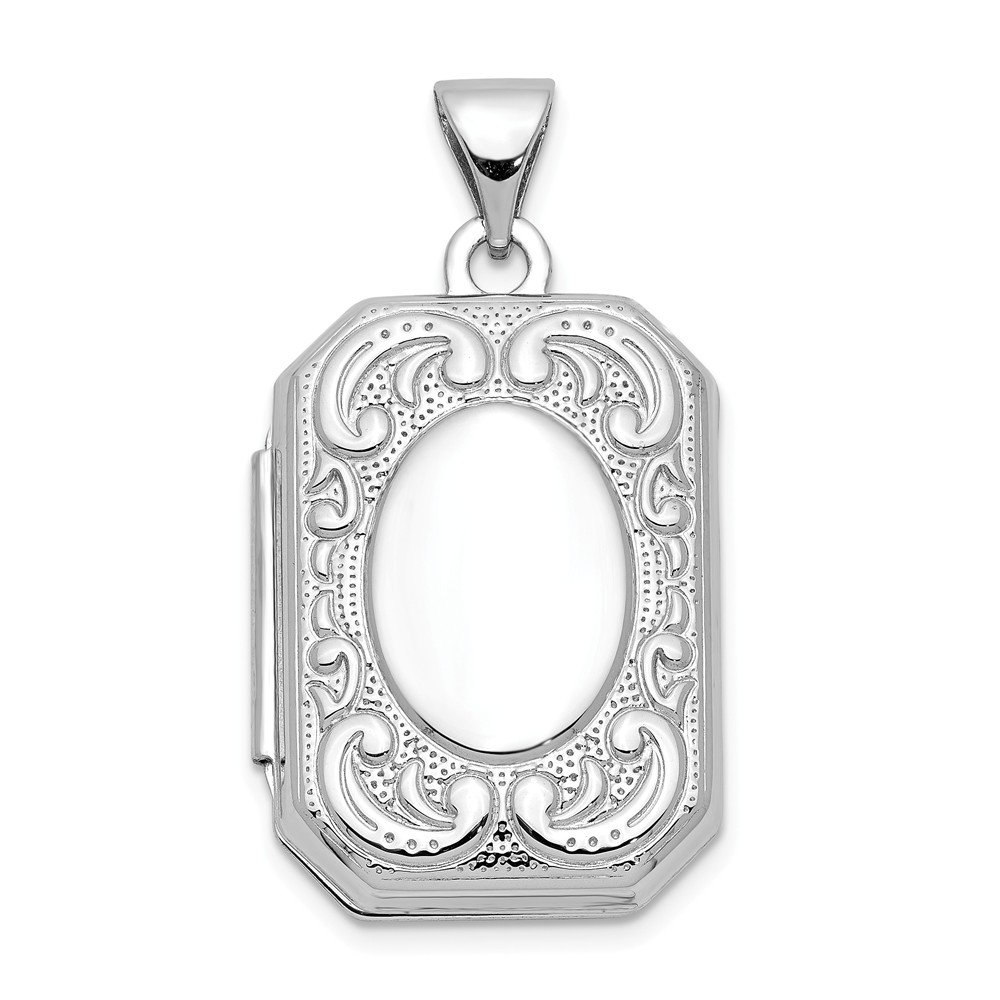 14k White Gold 20mm Book Scroll Border Photo Pendant Charm Locket Chain Necklace That Holds Pictures Shaped Fine Jewelry Gifts For Women For Her by ICE CARATS