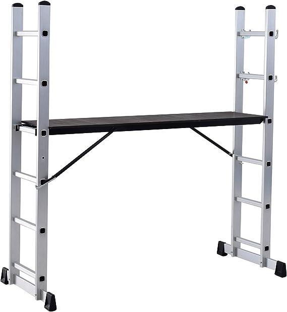 Escalera Aluminio Convertible Andamio Plataforma Trabajo Plegable 150kg 2 Medida (160x40x168cm): Amazon.es: Bricolaje y herramientas