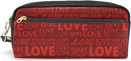 WowPrint - Estuche para lápices con diseño de carta de amor para el día de San Valentín, gran capacidad con cremallera de piel sintética: Amazon.es: Oficina y papelería