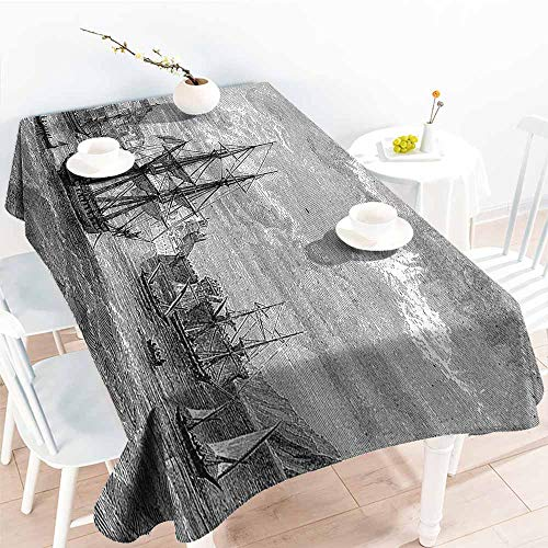 Elegance Engineered Tablecloth Antique Departing from Elba Vintage Engraved Illustration History of France Sails Vessels Black Grey Soft and Smooth Surface W70 xL84