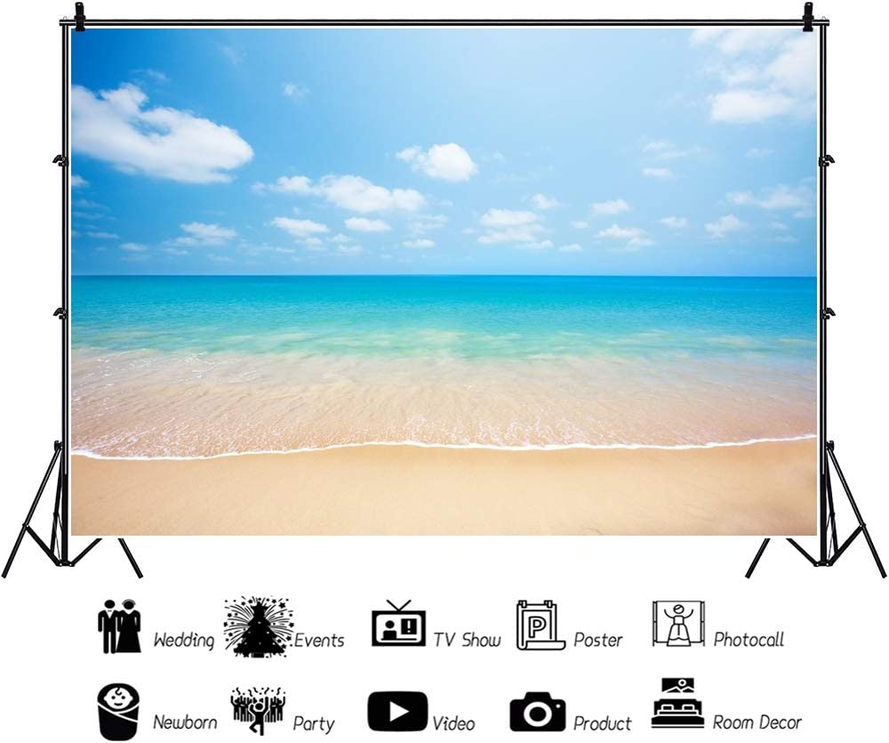 YEELE 12x8ft Beach Photography Backdrop Tropical Sea Wave Blue Sky Water Background Seaside Vacation Kid Lovers Portrait Photoshoot Studio Props Summer Holiday Tourism Wedding Photos Wallpaper