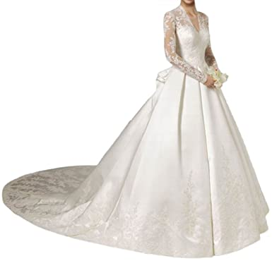MILANO BRIDE Muslim Wedding Dresses V-Neck Long Sleeves Ball Gown ...