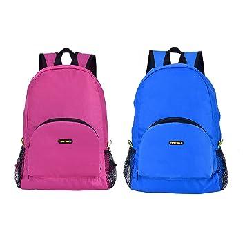 Tenn Well - Pack de 2 mochilas plegables, ligeras, impermeables, plegables, para senderismo, acampada, ciclismo (azul rosa): Amazon.es: Deportes y aire ...
