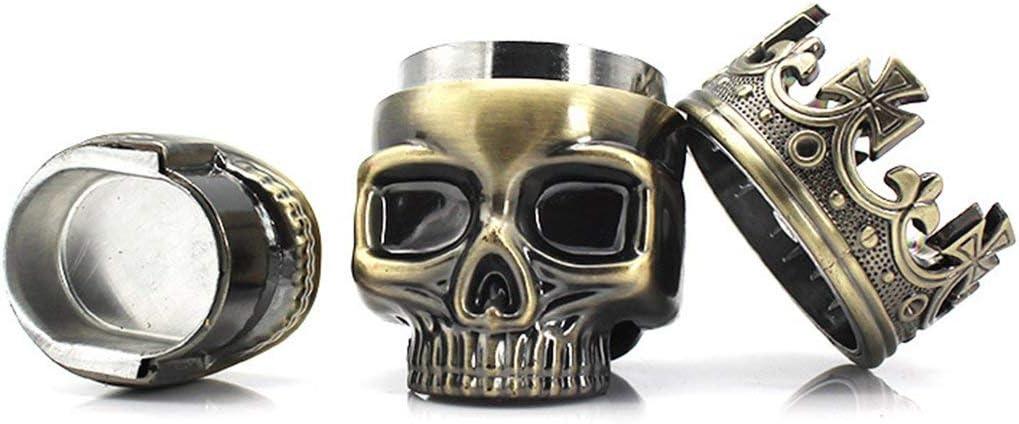 Garciakia Smoke Grinder Metal King Skull Tobacco Spice Herb 3 Layers Teeth Grinder Crusher Pollen Catcher Tobacco Accessories Color:Bronze