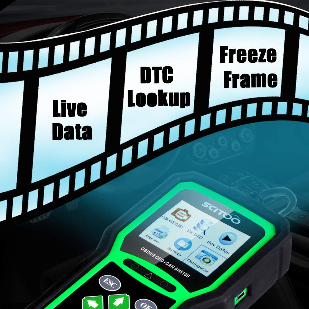 OBD2 Scanner Engine Check Light Fault Code Reader Automotive CAN Diagnostic Scan Tool AH5100 by SCITOO (Image #6)