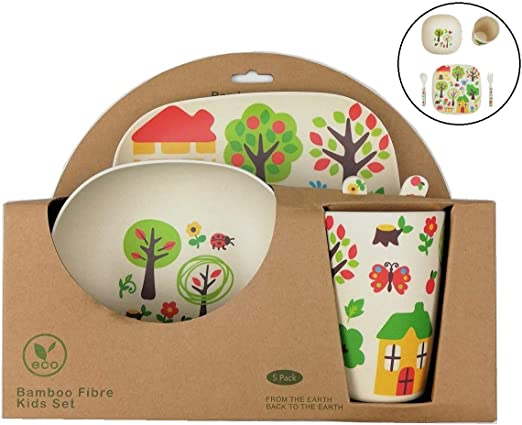 Vajilla Bambu Infantil ♻ Vajilla Fibra de Bambú Niños y Bebés 5 Piezas - Material Ecologico, Reciclable -