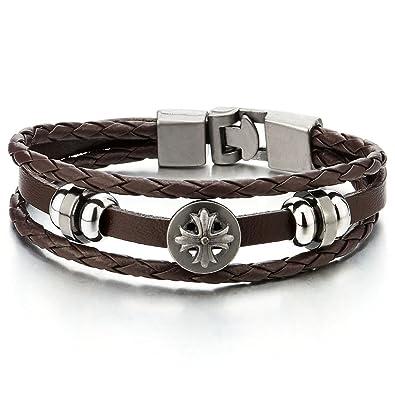 Amazon Com 20 5cm Mens Cross Brown Braided Leather Bracelet Leather