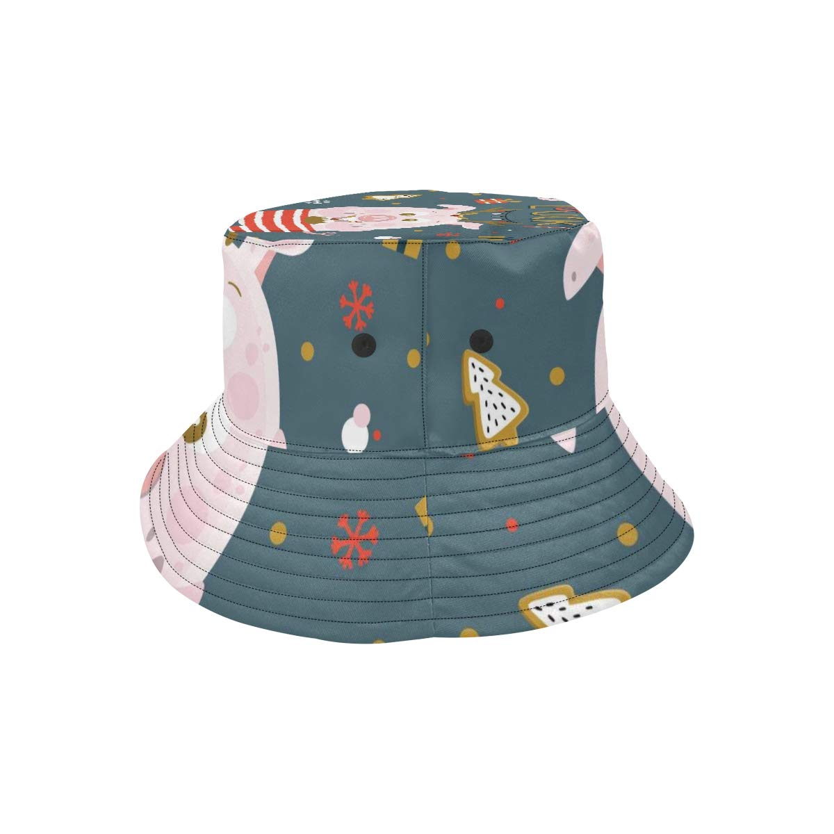 Ladies Girls Cute Cartoon Pig New Summer Unisex Cotton Fashion Fishing Sun Bucket Hats for Kid Teens Women and Men with Customize Top Packable Fisherman Cap for Outdoor Travel