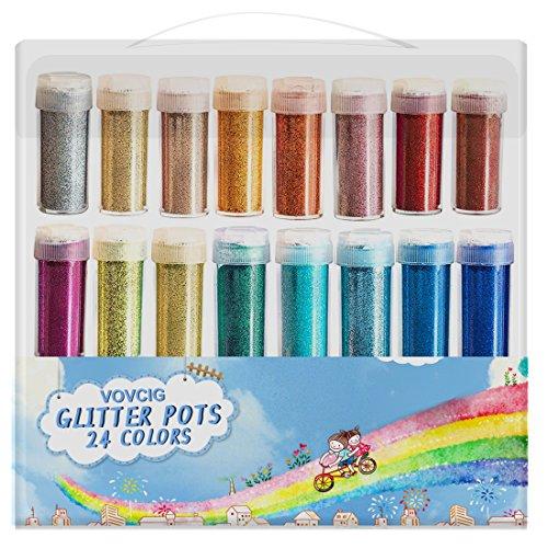 Glitter VOVCIG Craft Glitter Glitter Powder Shake Jars, Extra Fine Glitter in Large 10 Gram Bottles, 24 Multi color Set