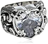 King Baby Clear Cubic-Zirconia Heart Ring, Size 7