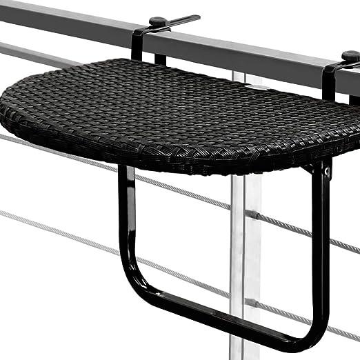 Mesa colgante para balcones y terrazas en poliratán negro de alta ...