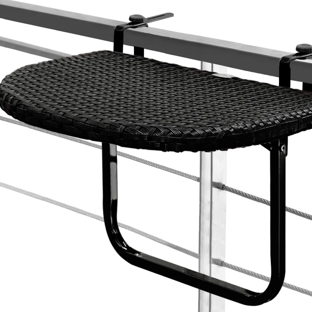 Balcony Hanging Table Space Saving Folding Height-Adjustable Black Patio Deck Railing Poly Rattan Garden Furniture Deuba