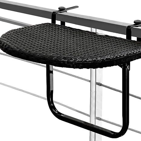 Mesa colgante para balcones y terrazas en poliratán negro de alta calidad ajustable en altura- Medidas: 61cm x 40cm