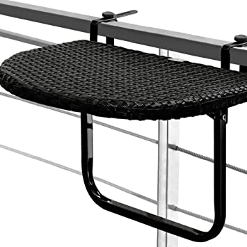 5857101bc19e3 Table de balcon tablette suspendue ajustable en hauteur - rabattable  polyrotin noir