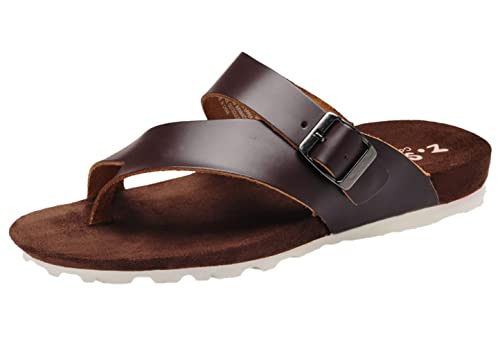 f385c322ee14c Image Unavailable. Image not available for. Color  DQQ Men s Brown Leather  Thong Strap Sandal ...