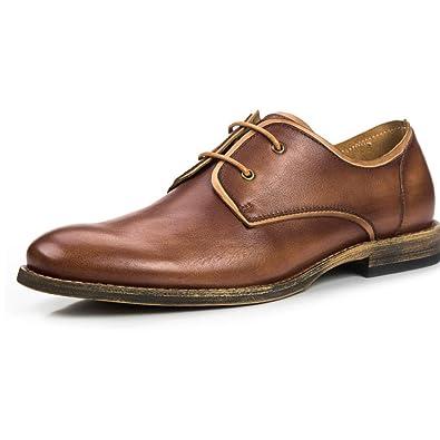 XDLJL Männer, Lederschuhe, Atmungsaktiv, Herren Freizeitschuhe, Britische  Schuhe,Brown-38 3b3fce6f88