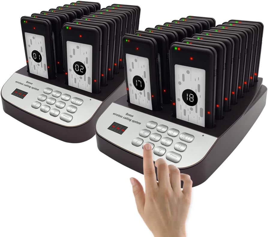 NOLAS Corum 32 Pagers Restaurant Call Coaster Pagers/Guest Waiting Pager/Wireless Paging System with Charging Dock and Transmitter (Availabe in 10/16/24 Units)