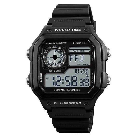 Reloj Digital MX Reino Retro Digital Reloj de Hombre de Alto Brillo Cuadrado dial de Ocio Acero Inoxidable para Hombre Lujo Regalo Negro: Amazon.es: Relojes