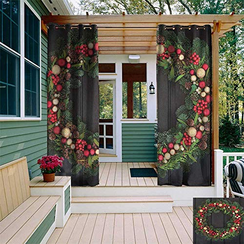 (leinuoyi Christmas, Outdoor Curtain Extra Wide, Christmas Wreath Design with Little Baubles Mistletoe Spruce Fir Dark Oak Image, Outdoor Patio Curtains W120 x L96 Inch Multicolor)