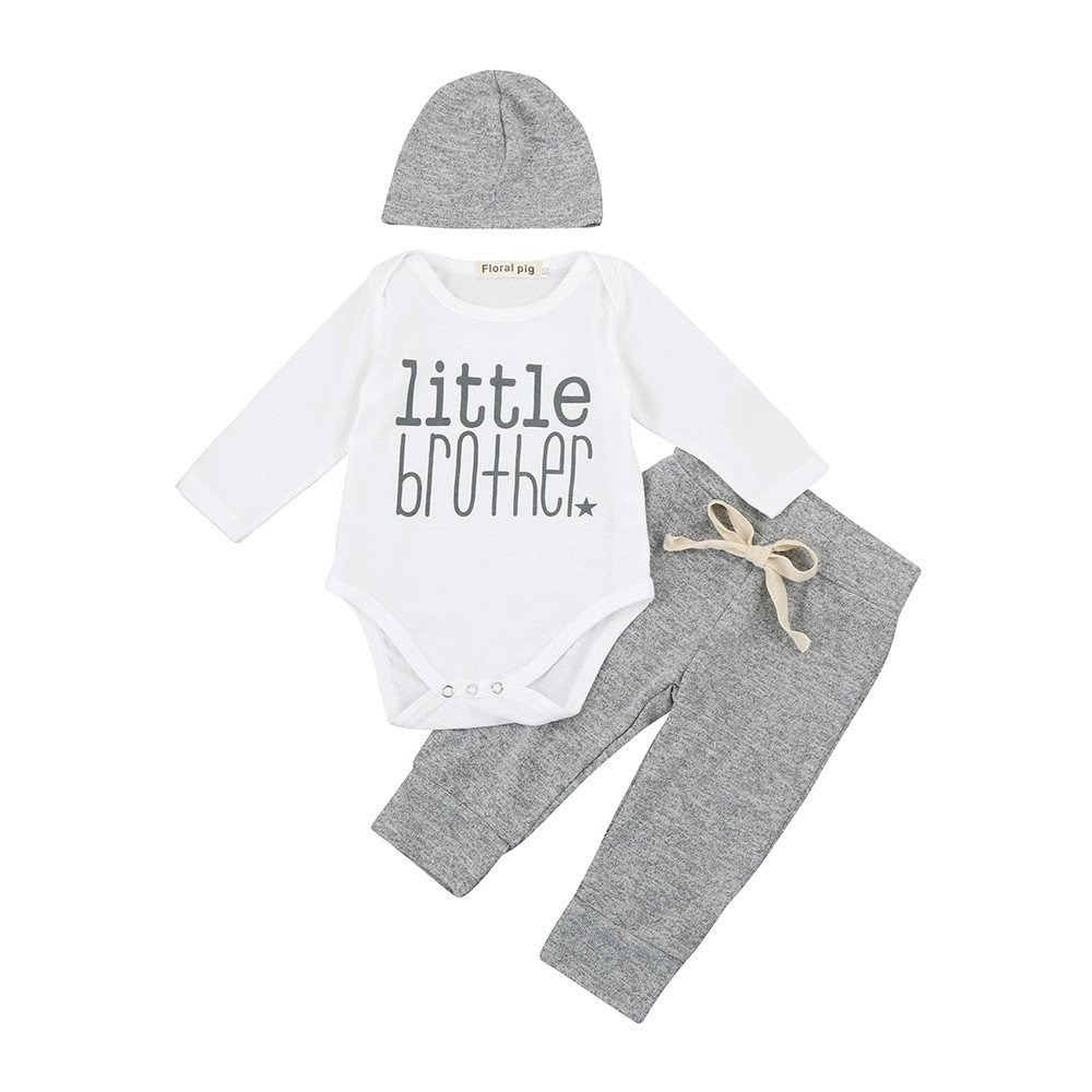 New Born Baby 0-18 Months Boys Girls Outfits Clothes Bodysuit Aumtun Long Sleeve Bodysuits Baby Girl Boy Little Brother Pattern Clothes Set Clothing Sets Letter Print 7 PCs Clothes Set Festiday