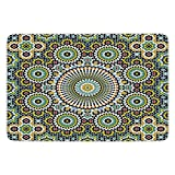 Bathroom Bath Rug Kitchen Floor Mat Carpet,Arabesque,Ethnic Moroccan Middle Eastern Oriental Traditional Vintage Islamic Mosaic Motif,Multicolor,Flannel Microfiber Non-slip Soft Absorbent