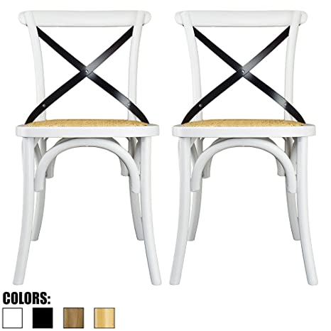 Awe Inspiring 2Xhome Set Of 2 White Mid Century Modern Farmhouse Antique Cross Back Chair With X Back Assembled Solid Real Wooden Frame Antique Style Dining Chair Cjindustries Chair Design For Home Cjindustriesco