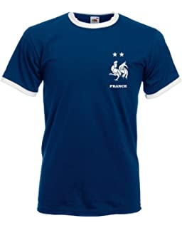 Retro French Football Ringer Shirt Tee Men World Cup France Vintage 2018  Russia Top Fan L254 738f3dfb2