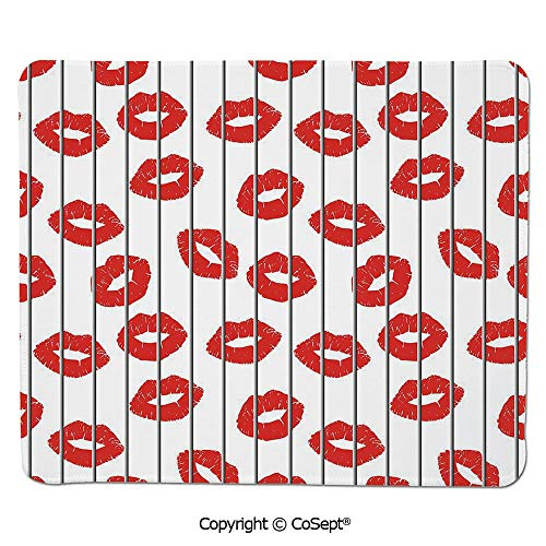 Ergonomic Mouse pad,Sexy Woman Lips Behind The Bars Female Love Romance Valentines Day Print Decorative,Water-Resistant,Non-Slip Base,Ideal for Gaming (11.81