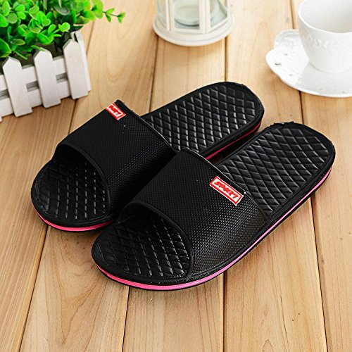 KESEELY Men Slippers - Flat Bath Summer Solid Sandals Indoor Outdoor Slipper Home Casual Leisure Soft Comfortable Flip Flop Black by KESEELY (Image #5)