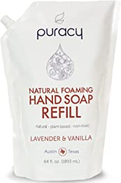 Puracy Natural Foaming Hand Soap Refill, [64 Oz], Lavender & Vanilla, Sulfate-Free, Moisturizing Hand Wash [64 Fluid Ounce Pouch]