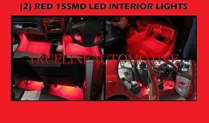 "2005-2010 CHRYSLER 300 300C (2) 12"" Red Foot Well Under dash Floor Light Interior Strips 1210 15SMD 2006 2007 2008 2009 05 06 07 08 09 10 LIMITED TOURING SRT-8 SRT8"