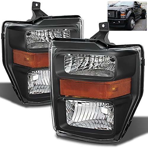 For 2008-2010 Ford F-Series Super Duty Black Headlights Front Lamps Pair Left+Right/2009 - Super Duty Left Headlight