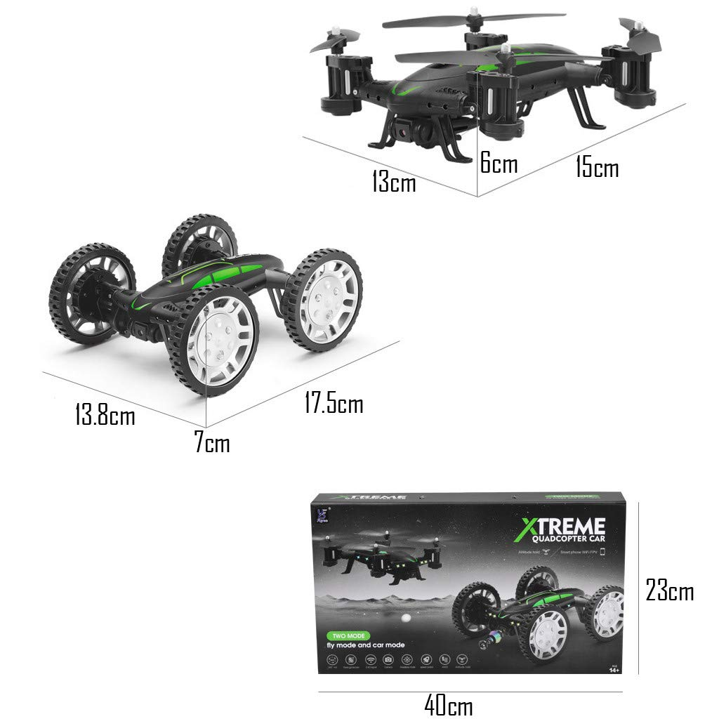COLOR-LILIJ FY602 Land Air Dual Mode - WiFi FPV RC Control Airplane - 17.5 X 13.8 X 7cm, Drone Car - 15 X 13 X 6cm, with Altitude Hold Headless Mode, 2.4G - 4CH - WiFi Enabled FPV Camera by COLOR-LILIJ (Image #9)