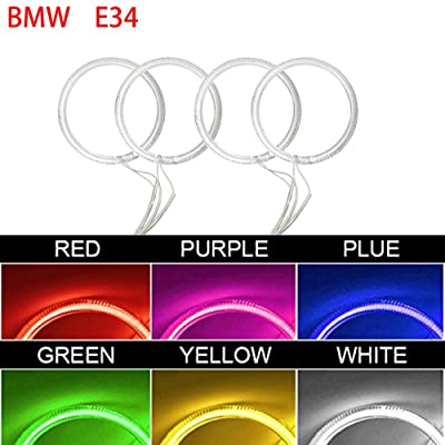 Qiuko 4x120mm Car CCFL Halo Rings Angel Eyes LED Headlights for BMW E32 E34 E30 DRL Car-Styling 6-Color (red): Automotive