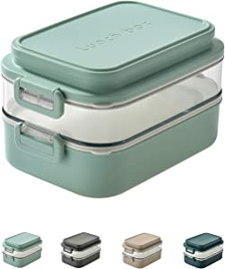 Linoroso-Dual Bento Boxes for Adults Kids|Modern Cute Stackable Lunch Box Meet ALL On-the-go Needs for Lunch Container,Salad Container for Lunch, Snack Box|Food Grade Safe PP Materials(CANAL BLUE)