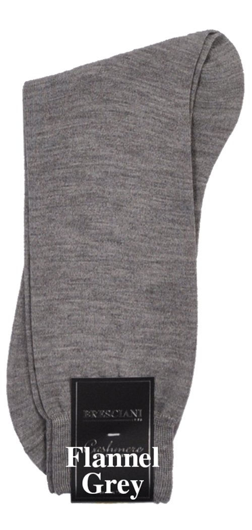 Bresciani Men's 100% Pure Cashmere Crew Dress Socks-1 Pair Flannel Grey