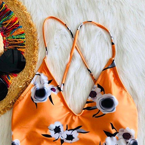 fiori Bikini Donna Beach Nuovo Siamese pezzo Adeshop Swimwear Beachwear Monokini Chic Size Slim Upholstered 2018 dimagrante Giallo 1 Large Stampa Swimsuit vXdqS