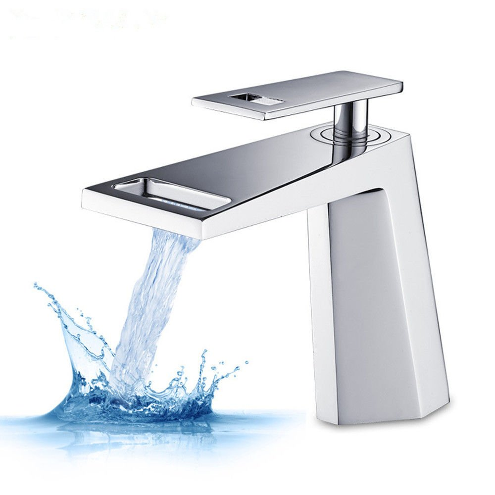 XPYFaucet Wasserhahn Armatur Mischbatterie Becken Wasserfall Kupfer warm und kalt Bad Schrank Einloch Einhandgriff